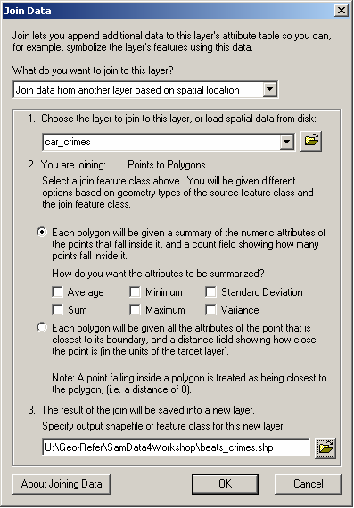 Spatial data linkage - Joining point data to a set of