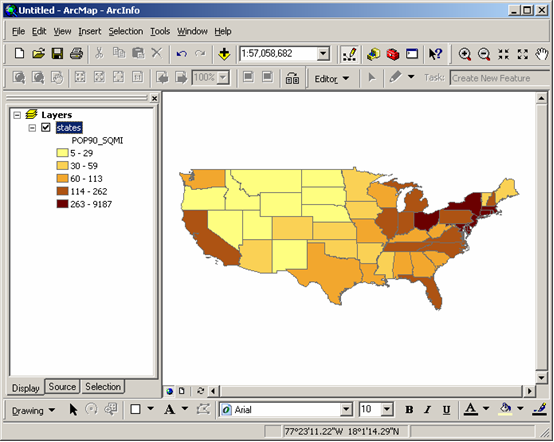 The Map Below Is A Choropleth Map Of The States Of The Usa Showing Population Density Persons Per Square Mile In 1990 Shaded In Five Cl According